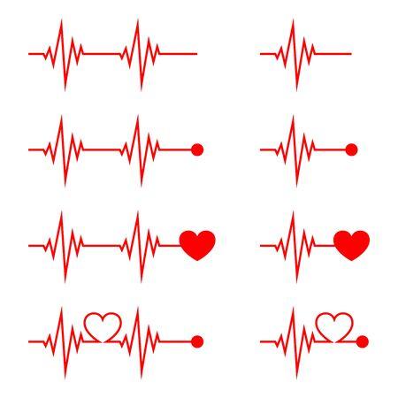 Icona di battito cardiaco isolata. Icona di impulso di vettore. Set di simboli di impulsi piatti.