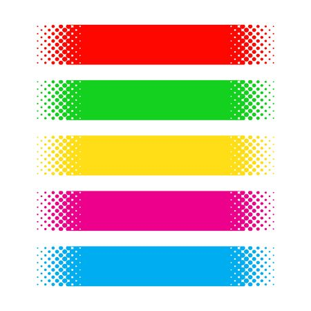 Set of dotted ribbons. Vector halftone banners. Design Elements. Color banners