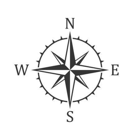 Compass icon - vector. Black Compass icon in flat style. Compass navigation icon. Compass rose, wind rose. Illusztráció