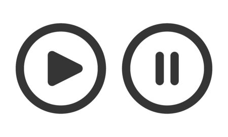 Play and pause buttons isolated. Black vector buttons. Round buttons in flat style. Vettoriali