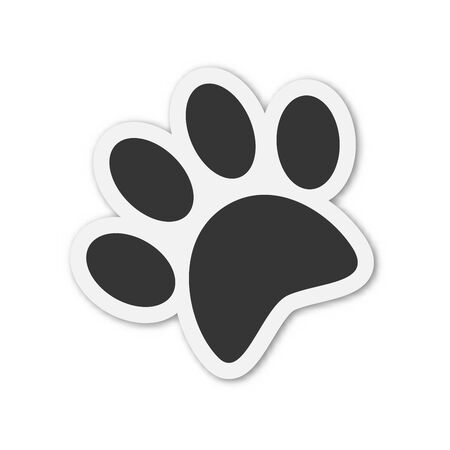 Vector animal Footprint icon. Paper sticker with shadow. Black animal footprint isolated.