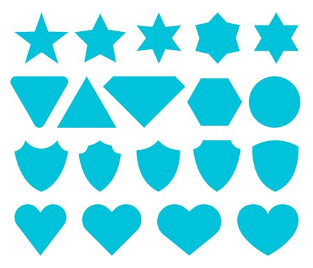 Set of flat icons isolated. Vector icons of Stars, Hearts, Shields.