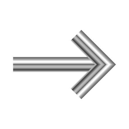 Metal right arrow isolated. Vector silver arrow. Chrome Arrow icon