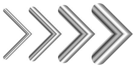 Set of metal arrows of different thicknesses. Vector silver arrows isolated. Chrome right Arrow