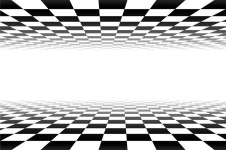 Vektor-Schach-Hintergrund. Karierter Hintergrund der Schwarzweiss-Perspektive. Abstrakter Hintergrund mit Perspektive Vektorgrafik