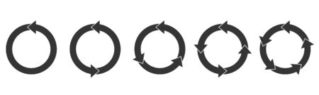 Set of circle arrows. Reload arros isolated. Black refresh vector arrow. Circle arrow for infographic