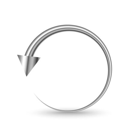 Metal circle arrow isolated. Vector silver arrow. Chrome reload or refresh Arrow