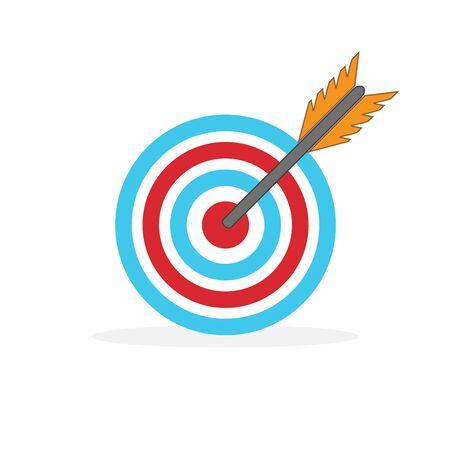 Zielvektorsymbol isoliert. Flaches Zielsymbol. Ziel für Sportbogenschießen.