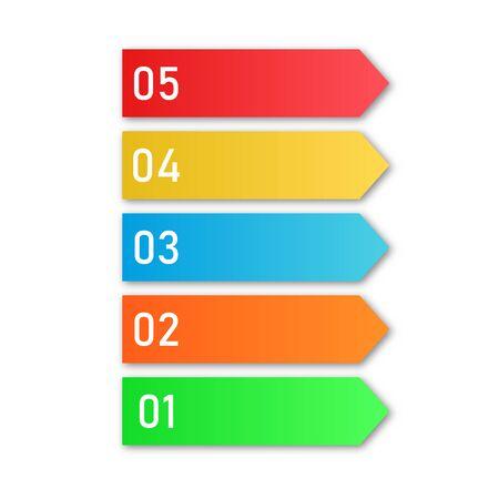 Fasi di processo colorate. Elementi di infografica vettoriale. Numero di passaggi aziendali