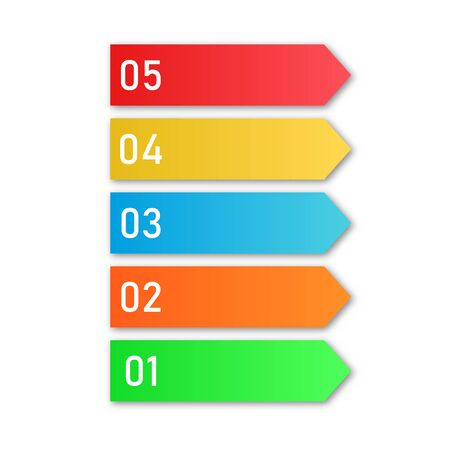 Colored process steps. Vector Infographic elements. Numbers of business steps Illustration