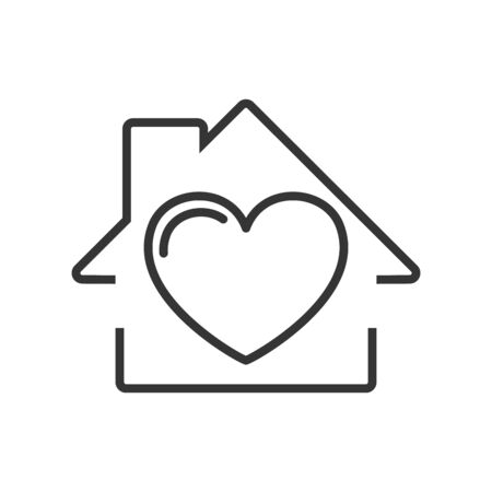 House icon with heart. Vector House icon. Black home icon. Construction concept. 일러스트