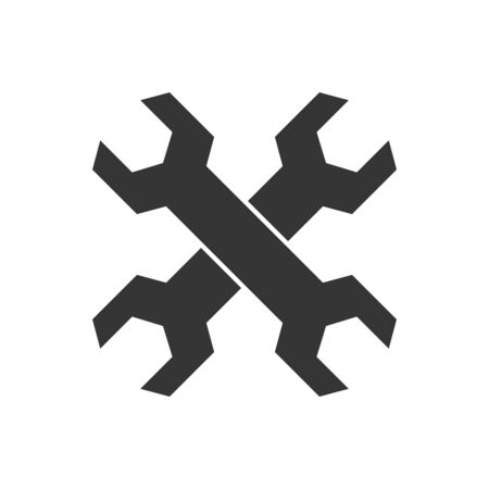 Service icon - vector. Two crossed wrenches isolated. Black service icon in flat style. Illustration