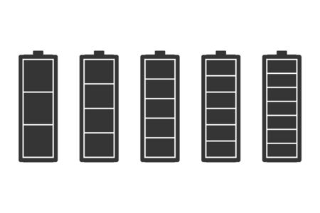 Vector battery icons isolated. Battery charge icons. Energy battery icons  イラスト・ベクター素材