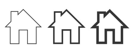 Set of House icons - vector. Black home icons. Building icon in flat style, isolated. 일러스트