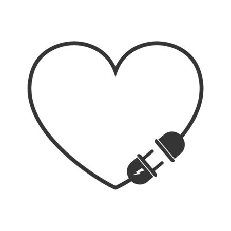 Electric extension cord icon in heart shape. Vector black icon. Wire plug and socket isolated