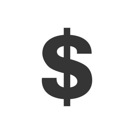 Vector Dollar icon. Black symbol of dollar. Vector icon isolated. Money concept