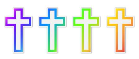 Set of vector christian Cross icons. Paper stickers with shadow. Colorful christian symbols isolated.