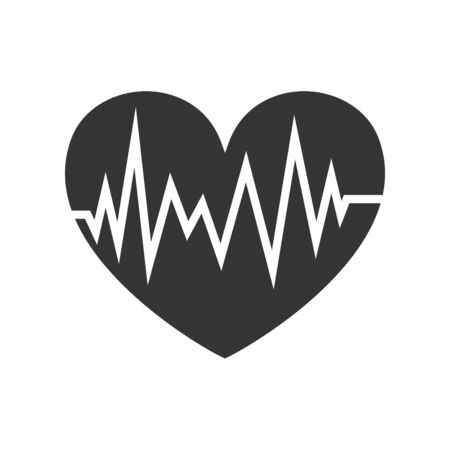 Vector Heartbeat icon isolated. Heart shape with pulse icon. Flat medical symbol - vector.