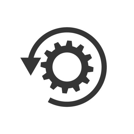 Vector gear reload icon with arrow. Workflow process icon isolated. Black recovery icon in flat design. Vector Illustration
