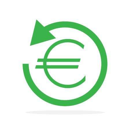 Simbolo di vettore di Cash back. Rimborsa denaro o icona di cambio valuta isolata. Icona di servizi finanziari piatto. Vettoriali