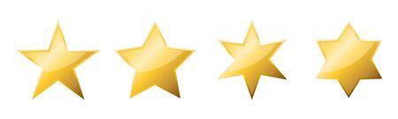 Set of vector golden stars. Vector golden stars, isolated. Glossy star icon.