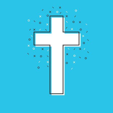 Abstract cute christian cross. Vector Christian Cross icon. Flat christian cross
