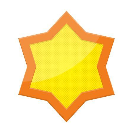 Vecteur étoile de David isolé. Icône étoile de David lumineuse jaune. Religion en pointillé Star dans le design pop art. Vecteurs
