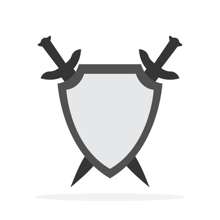 Shield and crossed swords - vector icon. Shield and two swords. Flat icon isolated.