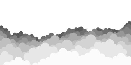 Sky with clouds. Dark clouds on white background. Vector illustration