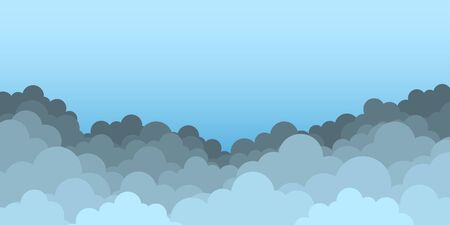Sky with clouds. Clouds on blue background. Vector illustration