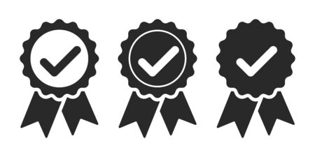 Set of approved icons isolated. Certified medal icons in flat design. Vector illustration.