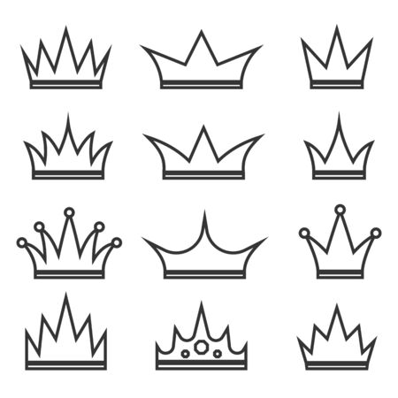 Set of Crown icons in linear style. Vector illustration. Black royal Crown icons isolated. Illustration