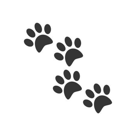 Animal footprints - vector. Black tracks of a dog or cat isolated. Flat vector illustration Standard-Bild - 133333407