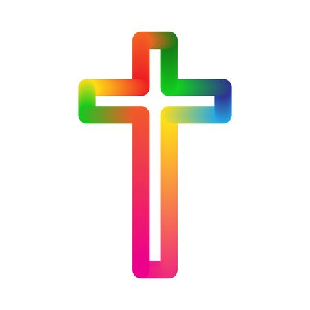 Christian Cross icon - vector. Colorful church cross isolated. Abstract religion symbol