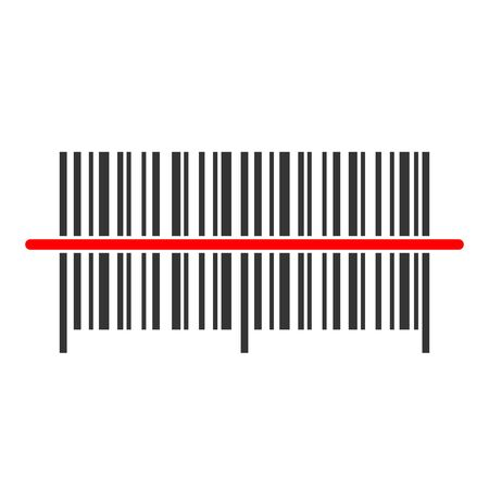 Barcode icon - vector. Barcode icon in flat style. Vector barcode icon with red laser beam. Иллюстрация