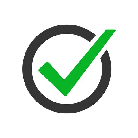Green checkmark icon. Vector voting symbol. Approved vector icon. Vector button isolated.