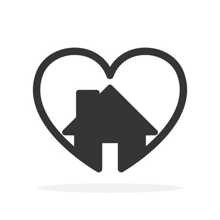 Heart shape with house icon. Vector Heart icon. Black home icon. Love concept.