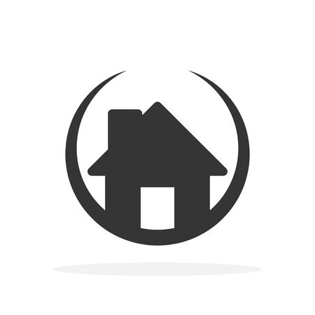 House icon in a circle - vector. Black home icon. Building icon in flat style, isolated. Vector house icon