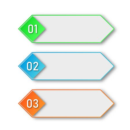 Colored process steps. Vector Infographic elements. 1, 2 and 3 numbers or steps