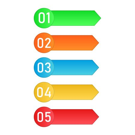Colored process steps. Vector Infographic elements. Numbers of business steps Ilustrace