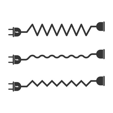 Vector set of extension cord icons. Wire plug, socket, cable. Vector black icons isolate