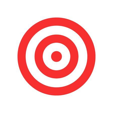 Icône de vecteur cible isolé. Icône de cible plate. Cible ronde rouge