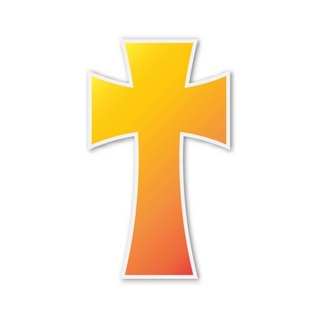 Vector christian Cross icon. Paper sticker with shadow. Colorful christian symbol isolated. 向量圖像
