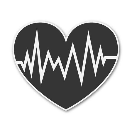 Vector Heartbeat icon. Paper sticker isolated. Medical symbol isolated. Illustration