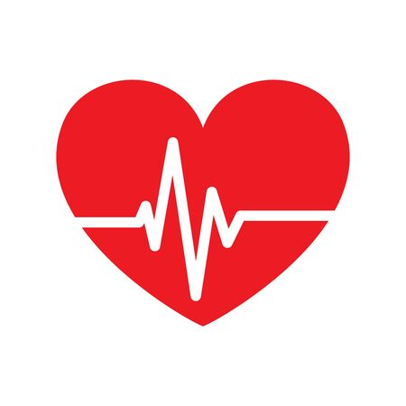 Heartbeat icon isolated. Red vector Pulse icon. Flat medical symbol.