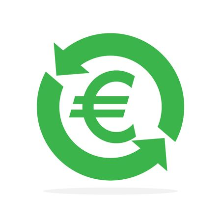 Vector symbol of Currency exchange. Financial services or cash back icon isolated. Flat refund money icon.
