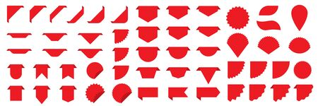 Set of vector banners ribbon isolated. Blank red labels or tags in flat design.