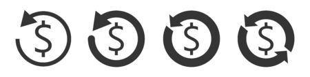Set of vector refund money icons. Currency exchange or cash back icons isolated. Flat symbols of Financial services.