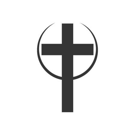 Christian Cross icon. Church cross isolated. Black religion vector symbol 向量圖像