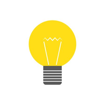 Vector light bulb icon. Yellow Lamp in flat design. Vector icon isolated. 向量圖像